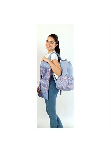 Kaukko Kaukko Soft Floral Mavi Çiçekli Okul ve Günlük Sırt Çantası Renkli
